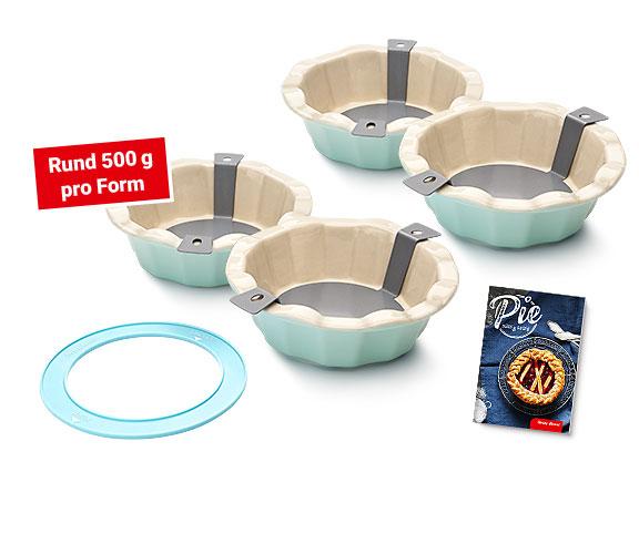 KOMBI Pie-Backform «Lupf-Rutsch» (4er-Set) inklusive Schablone, Rezeptbüchlein.