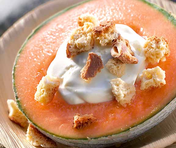 Melone mit Muscat-Creme