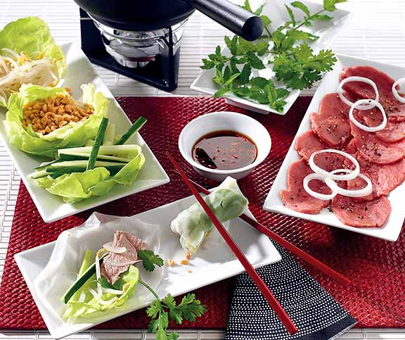 Beef hot pot (Fondue au boeuf)